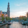 City scenic from Amsterdam with the Westerkerk in the Netherland
